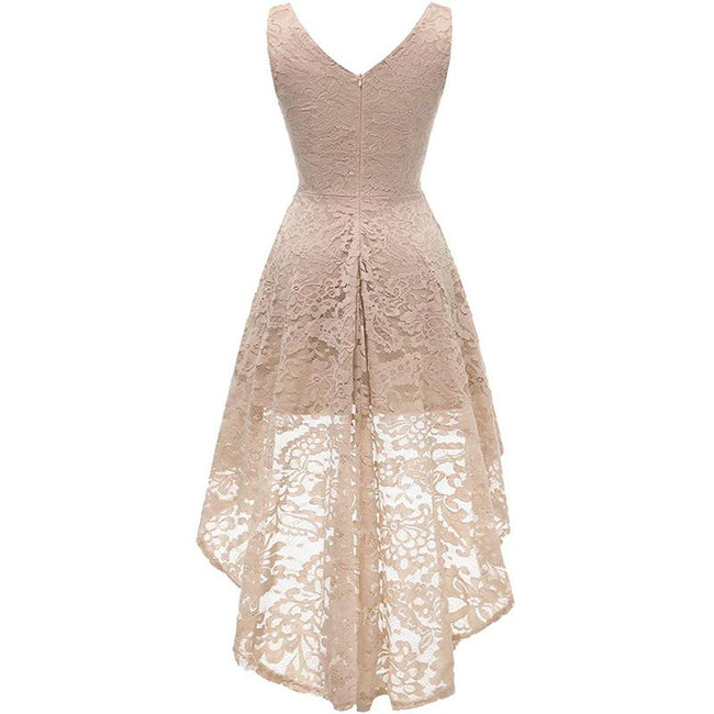 Formal Cocktail Party Dress Lace High Low Sleeveless Swing V Neck
