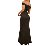 Off The Shoulder Maxi Dress Bodycon Side Split Evening Party Dresses