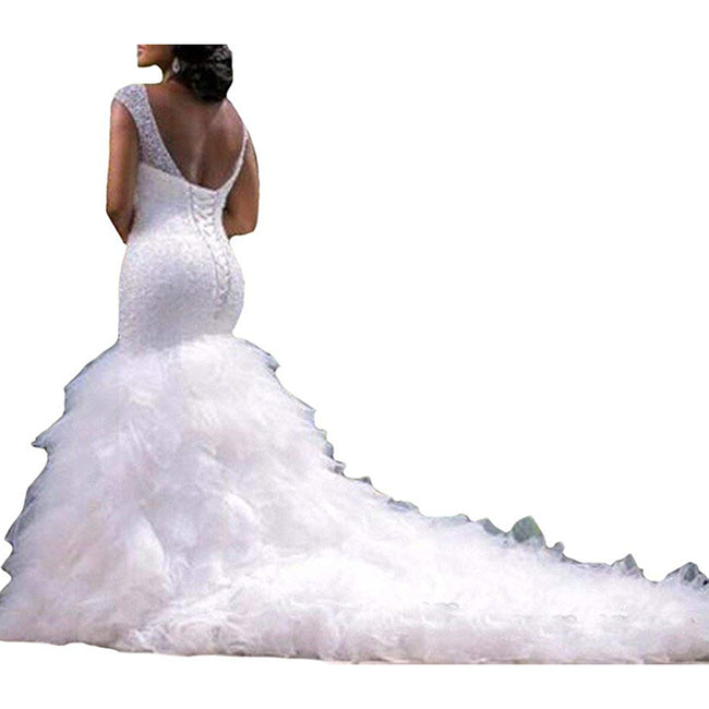 Illusion Wedding Dress Mermaid Trumpet Wedding Gown Sleeveless