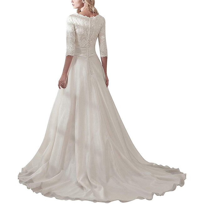 Wedding Gown For Women With Sleeves A Line Long Bridal Dress