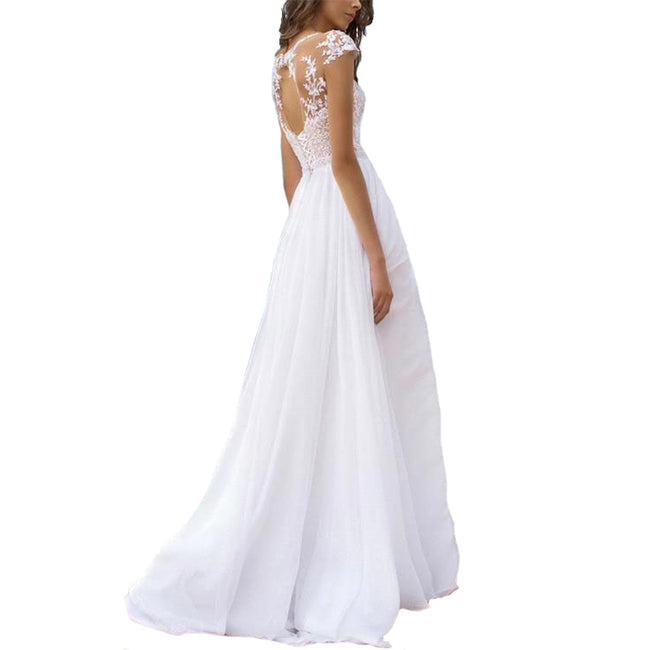Split Side Wedding Gown Beach Bridal Dress Long A Line Brush Train