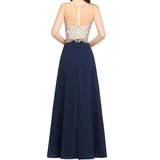 Long Formal Beaded Evening Gowns Sheer Neck A Line Sleeveless