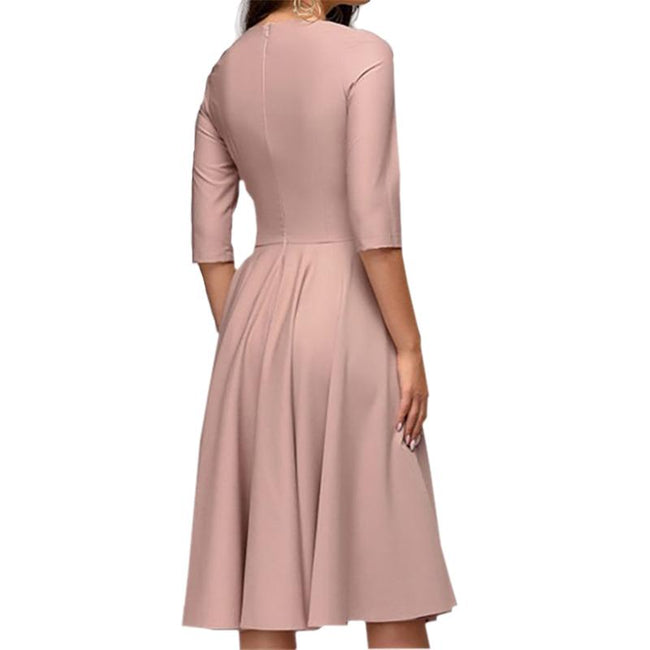 Short Dress For Wedding Party 3/4 Sleeve Pleated Swing A Line