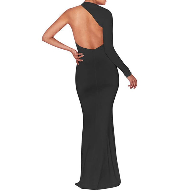 Sexy Bodycon Evening Dress For Women One Shoulder Long Sleeve