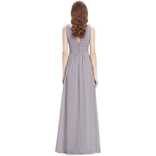 Semi Formal Maxi Evening Dress Sleeveless V Neck A Line Floor Length