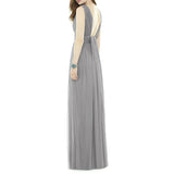 Women's Bridesmaid Dress Sheath Column Pleated Sleeveless V Neck Evening Dress