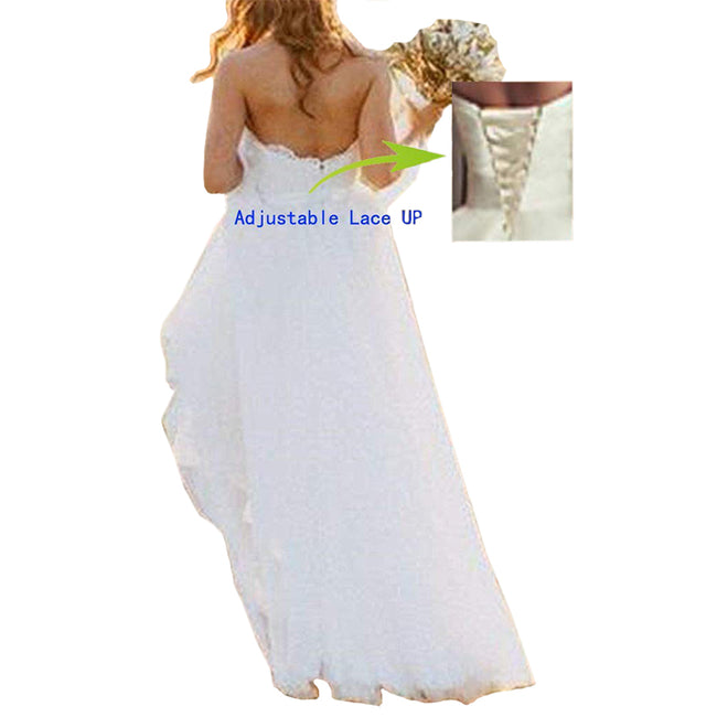 Lace Tulle Beach Wedding Gown Long Strapless A Line Bridal Dress