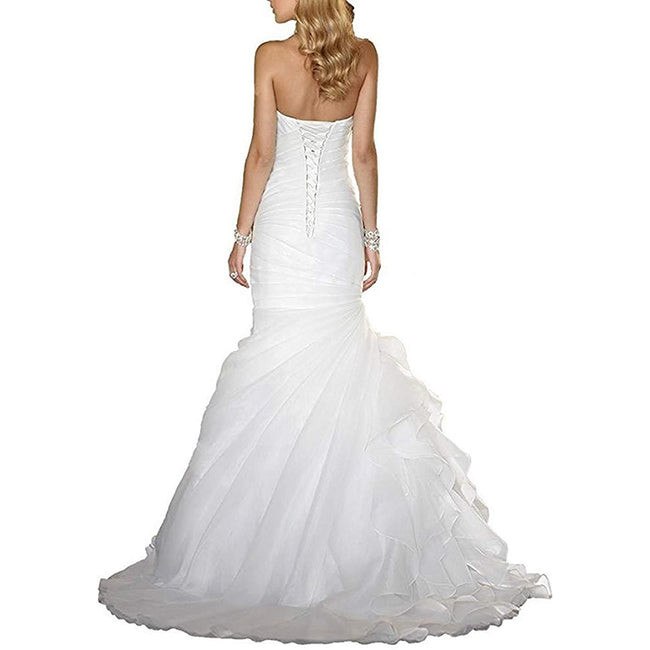 Ruched Wedding Gown Mermaid Bridal Dress Lace Up Floor Length