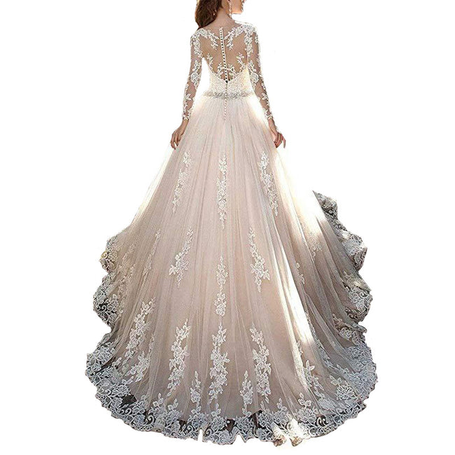 Lace Wedding Gown A Line Long Sleeve Bridal Dress With Train