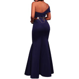 One Shoulder Long Evening Dresses Floor Length Backless Foldover