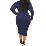 Sexy Plus Size Peplum Dresses For Women Long Sleeves Tea Length