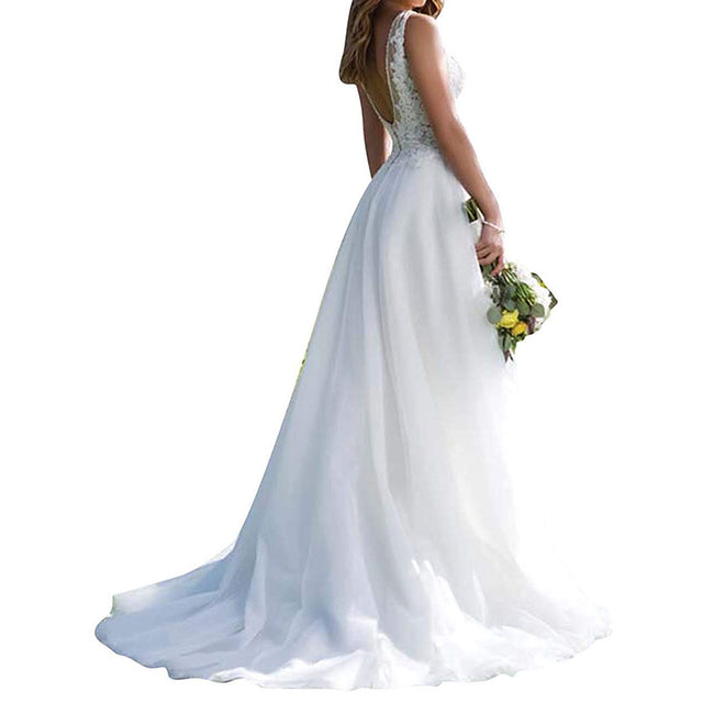 Simple Wedding Gown For Bride Lace Bridal Gown Sleeveless V Neck