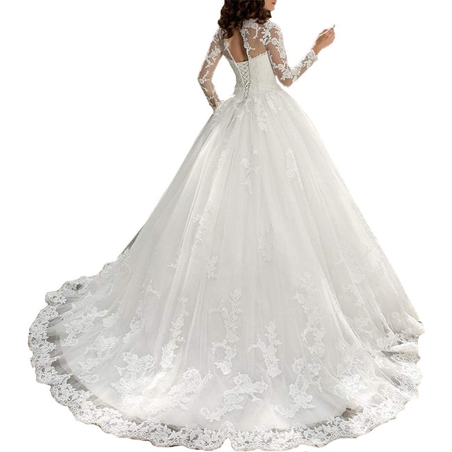 Long Sleeve Bridal Gown Lace Wedding Dress A Line Long Train