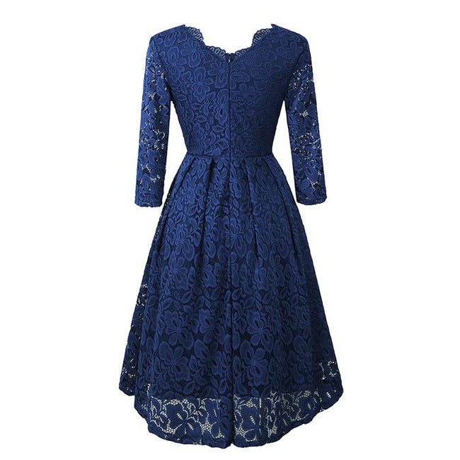 Vintage Lace Bridesmaid Dress 3/4 Sleeve Swing Midi Wedding Party Dress