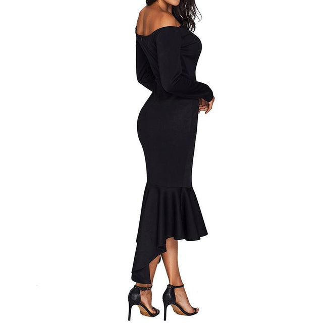 Mermaid Cocktail Dress Long Sleeve Off The Shoulder Midi Dresses