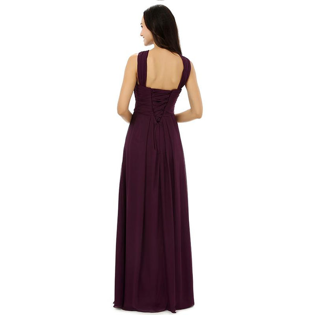 Chiffon Bridesmaid Dress Pleated Sleeveless Party Prom Evening Gown
