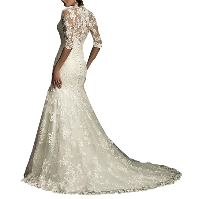 Elegant Lace Mermaid Vintage Wedding Gown Long Sleeve Country Style