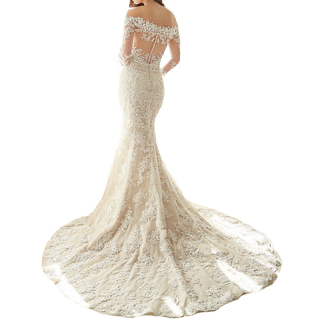 Off The Shoulder Bridal Wedding Gown Lace Mermaid Long Sleeve