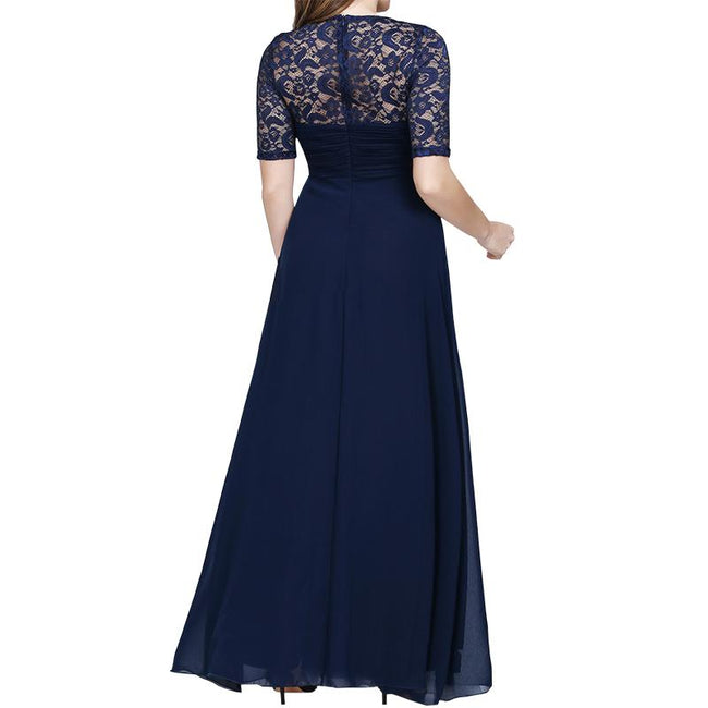 Plus Size Evening Dress For Women Short Sleeve Lace Back Bridesmaid Dress