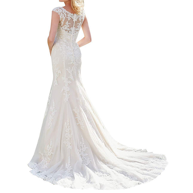 Mermaid Wedding Gown For Bride Lace Applique Round Neck Court Train