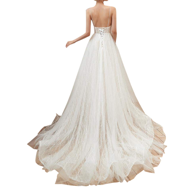 Deep V Neck A Line Wedding Gown Bride Dress Sleeveless Backless Evening Gown