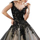 Gothic A Line Bridal Wedding Gown Formal Evening Gown Applique Prom Gown