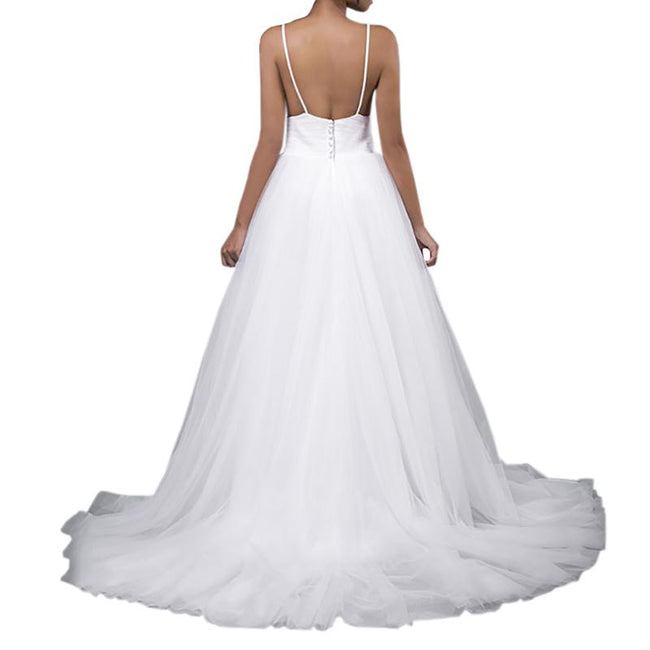 Simple Boho Wedding Gown Sexy Wedding Party Dress Backless Train