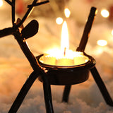 Christmas Decorations Reindeer Tealight Candle Holders Metal 6 Pcs Per Set