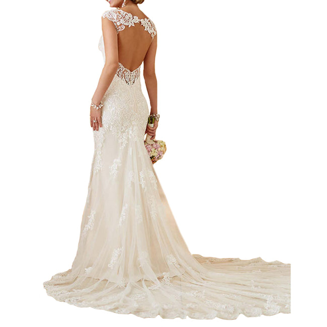 Elegant Bridal Wedding Dress Lace Mermaid Backless With Long Train