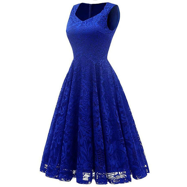 Floral Lace Bridesmaid Dress Elegant Swing Homecoming Dress Formal Cocktail Dress