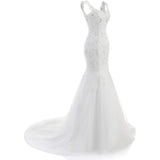 Women's Sexy Lace Wedding Gown Mermaid Backless Sleeveless Bridal Gown