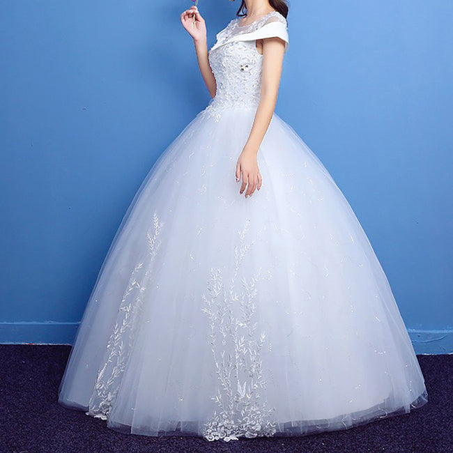 Bridal Gown For Women Short Sleeve Lace Applique Tulle Shoulder