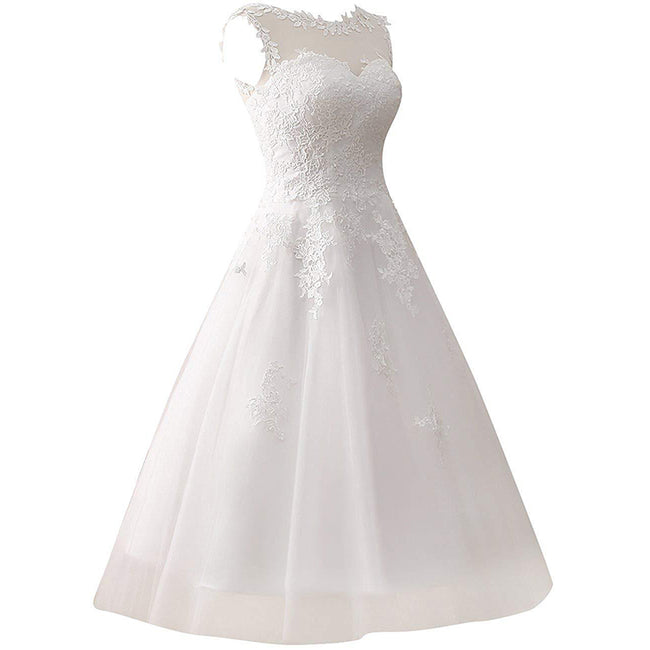 Short Wedding Dresses For Bride Tea Length Sleeveless Lace Applique