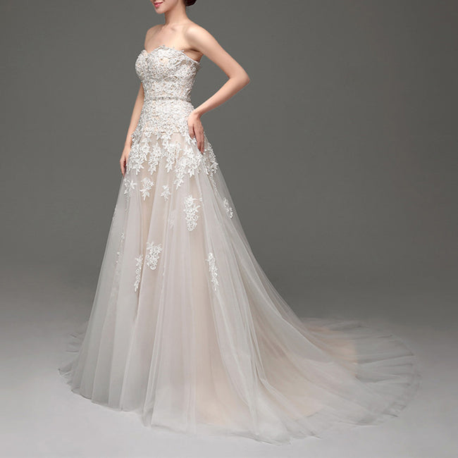 Lace Applique Strapless Bridal Dress Beaded Long Wedding Gown
