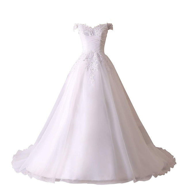 V Neck Wedding Gown Church Beach Bridal Dress A Line Short Sleeve Applique