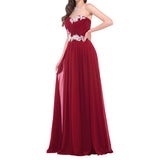 Simple Bridal Wedding Dress Long Applique Evening Dress Strapless Prom Dress