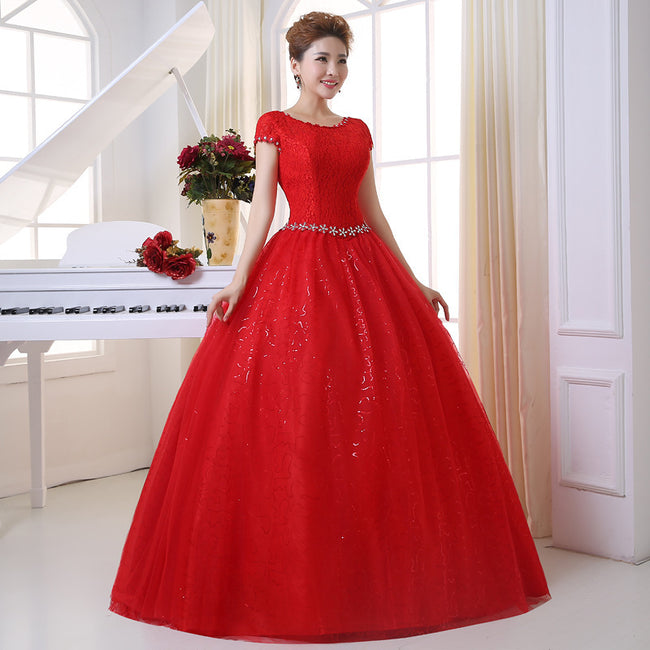 A Line Wedding Gown Lace Tulle Round Neck Short Sleeve Lace Up