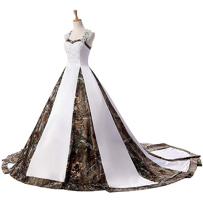 Camo Wedding Gown Bridal Dress For Women Sweetheart Sleeveless A Line