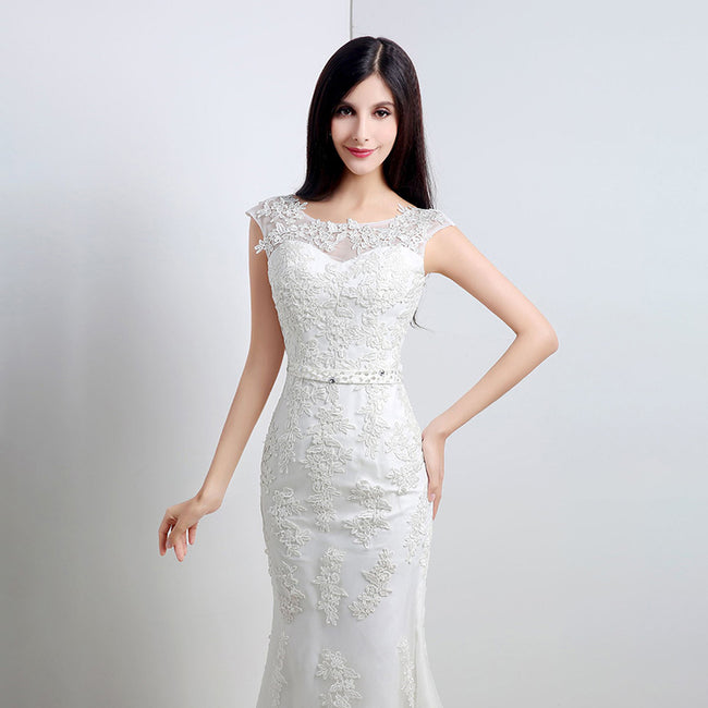 Simple Bridal Dress Mermaid Wedding Gown Cap Sleeve Court Train