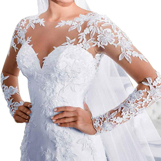 Trumpet Long Sleeve Wedding Gown Lace Applique Bridal Wedding Dress