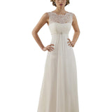 Lace Wedding Gown Beach A Line Long Bridal Dress With Brush Train