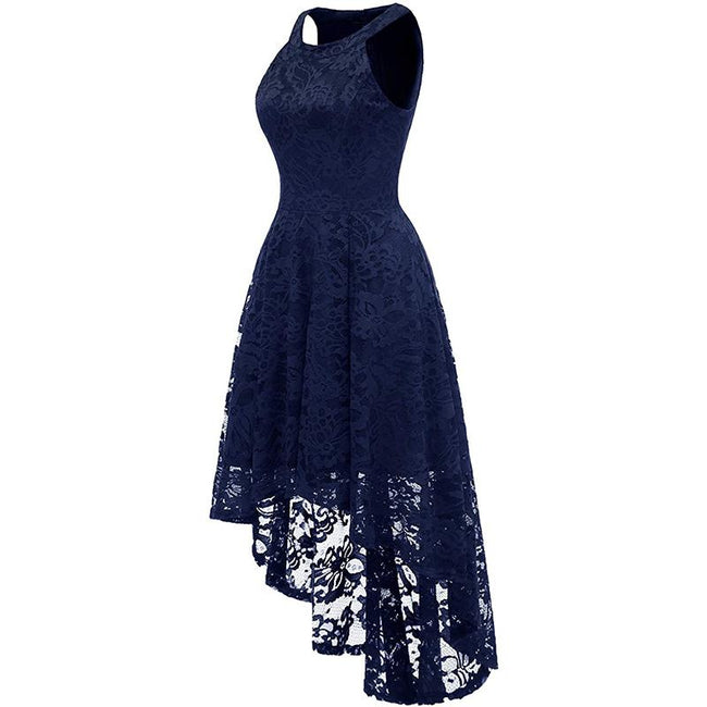 High Low Bridesmaid Dress Floral Lace Halter Neck Cocktail Party Dress