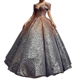 Illusion Sequins Bridal Dress Elegant Quinceanera Dress Short Sleeve Floor Length