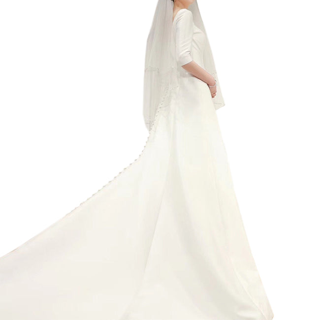 Simple Elegant Bridal Gown 3/4 Sleeve Bridal Dress With Long Train