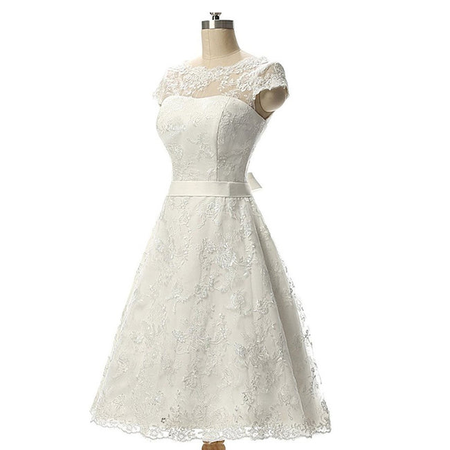 Simple Wedding Gown For Bride Lace Short Wedding Bridal Dress