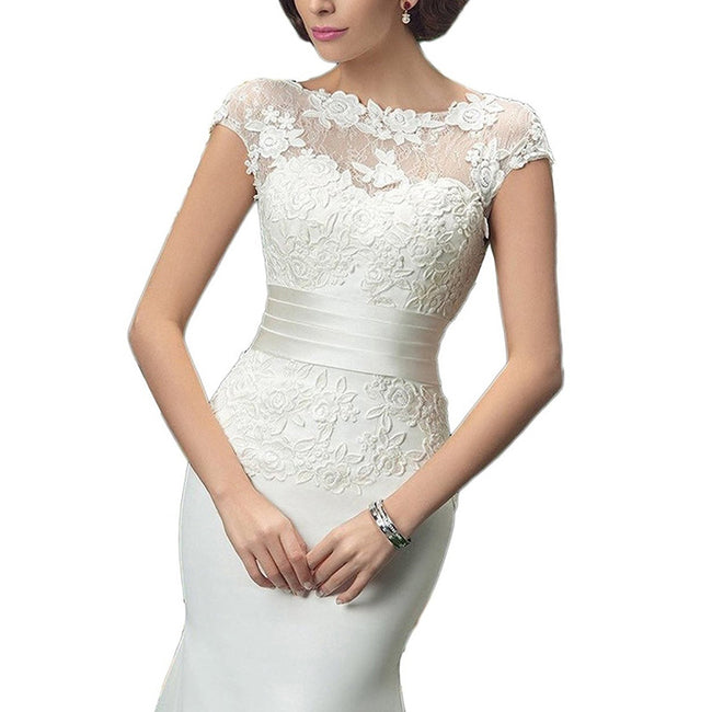 Elegant Trumpet Bridal Gown Short Sleeve Boat Neck Applique Flower