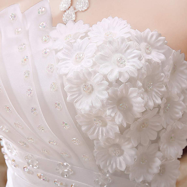 Princess Strapless Bridal Wedding Gown Applique Beaded Flower