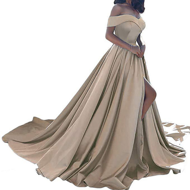A Line Wedding Party Gown Slit Off The Shoulder Evening Prom Dresses