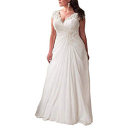 Plus Size Lace Bridal Dress For Women Cap Sleeve Beach Bridal Gowns