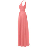 Plus Size Long Evening Dress Sleeveless V Neck Chiffon Bridesmaid Dress
